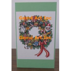 Christmas Wreath Note Card  - #CardT876  -  NOTE CARD
